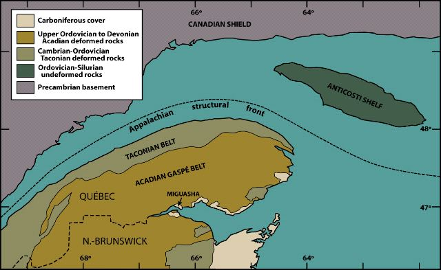 Major geological domains of the Gaspé Peninsula.
